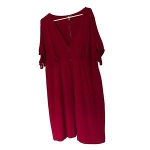 Raspberry ASOS Curve Retro Cut Dress Sz 18